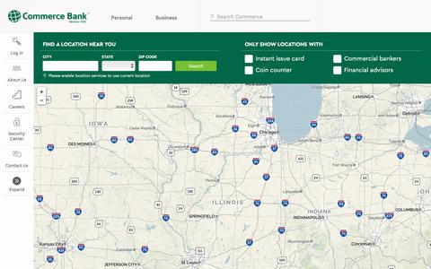 Screenshot of Locations Page commercebank.com - Locations | Commerce Bank - captured June 9, 2017