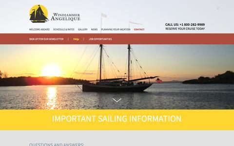 Screenshot of FAQ Page sailangelique.com - Windjammer Angelique | Sailing Cruise | FAQ - captured Nov. 19, 2016