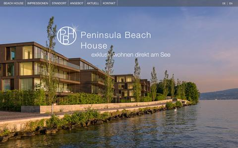 Screenshot of Home Page beach-house.ch - Peninsula Beach House - exklusiv wohnen direkt am See von Peach Property Group - captured Sept. 21, 2015