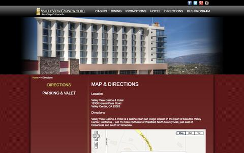 Screenshot of Maps & Directions Page valleyviewcasino.com - San Diego Indian Casino, Map and Directions to Valley View Casino & Hotel - captured Sept. 19, 2014