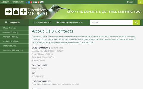 Screenshot of About Page Contact Page directhomemedical.com - : About Us & Contacts! - captured Oct. 1, 2018