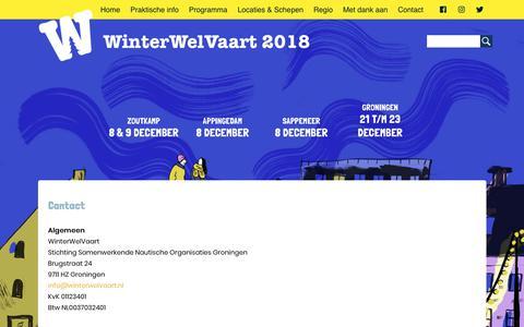 Screenshot of Contact Page winterwelvaart.nl - WinterWelVaart | Contact - captured Dec. 10, 2018