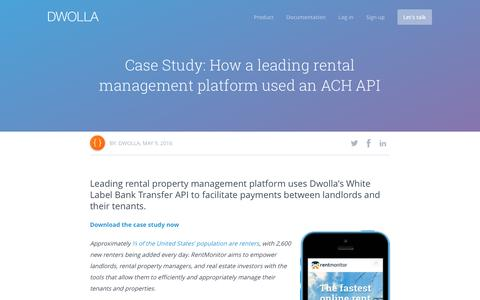 Screenshot of dwolla.com - ACH Integration for Rentmonitor   - captured Oct. 22, 2016