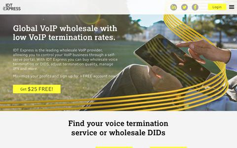 Screenshot of Home Page idtexpress.com - Wholesale Voice Termination Services and Wholesale DIDs | IDT Express - captured Dec. 8, 2018