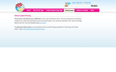 Screenshot of Pricing Page dogtagart.com - Virtual Leash Pricing | Dog Tag Art - captured Sept. 19, 2014