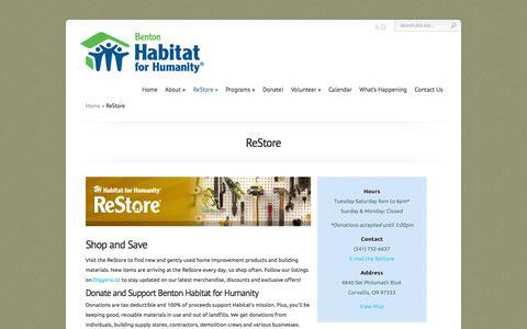 Screenshot of Hours Page bentonhabitat.org - ReStore | Benton Habitat for Humanity - captured Oct. 5, 2014