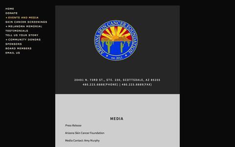 Screenshot of Press Page skinexam.org - Media — Arizona Skin Cancer Foundation - captured Oct. 1, 2014