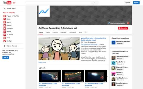 Screenshot of YouTube Page youtube.com - ActValue Consulting & Solutions srl  - YouTube - captured Oct. 23, 2014
