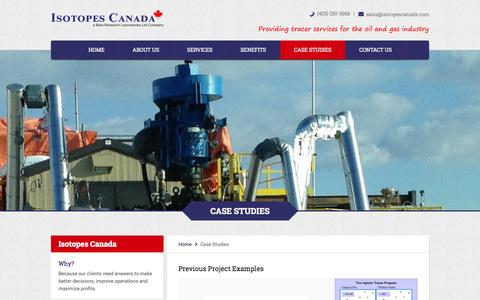 Screenshot of Case Studies Page isotopescanada.com - Case Studies - Isotopes Canada - captured Sept. 30, 2014