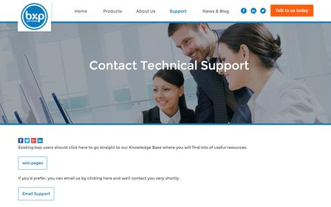 Screenshot of Support Page bxpsoftware.com - Contact Technical Support | bxp Software - captured Nov. 20, 2016