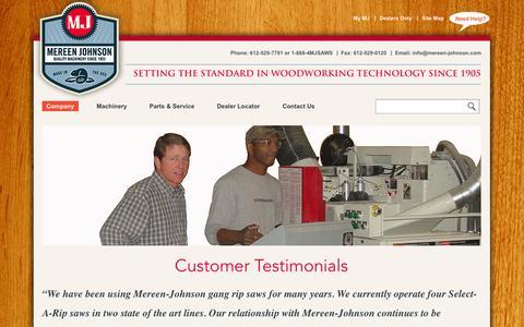 Screenshot of Testimonials Page mereen-johnson.com - Testimonial | Mereen-Johnson - captured Oct. 27, 2014