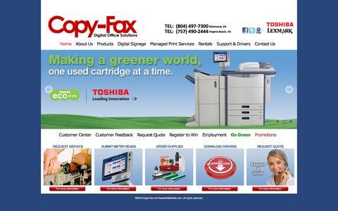 Screenshot of Home Page copyfaxva.com - Copiers, AVAya IP Office Phones, Lexmark Printers, Document Management, Richmond, VA - captured June 16, 2016