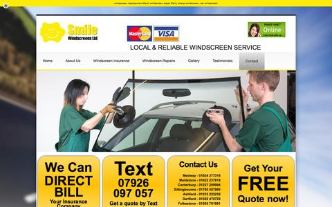 Screenshot of Contact Page smilewindscreens.co.uk - Smile Windscreens - Smile Windscreens - captured Feb. 15, 2016