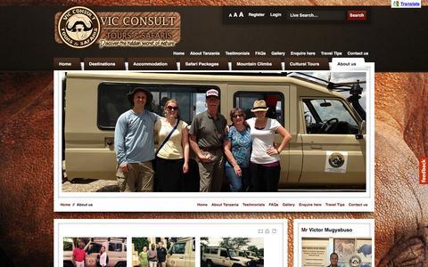 Screenshot of About Page vicconsultsafaris.com - Best Tour Operators Tanzania | Tanzania Safari by Vic Consult Safaris - captured Feb. 17, 2016