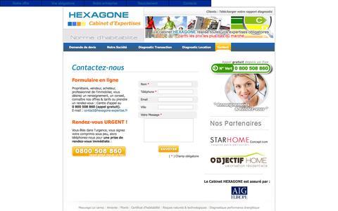 Screenshot of Contact Page hexagone-expertise.fr - HEXAGONE Cabinet d'Expertises - NUMERO GRATUIT 0 800 508 860 (depuis un fixe) - captured June 3, 2016