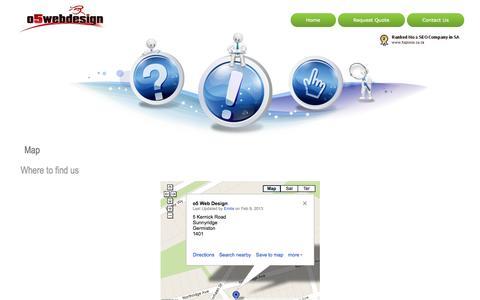 Screenshot of Maps & Directions Page o5webdesign.com - Web Designer South Africa Search Engine Optimization SEO Website Designer Web Designers - captured Sept. 30, 2014