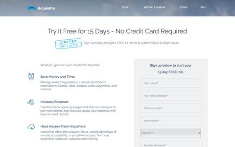 Screenshot of Trial Page hotelopro.com - Try HoteloPro Free for 15 Days - No Credit Card Required - captured July 18, 2016