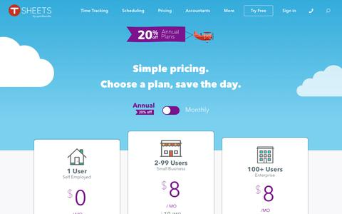 Screenshot of Pricing Page tsheets.com - Time Clock Software Pricing | Try Free 14-Day Trial - captured July 15, 2019