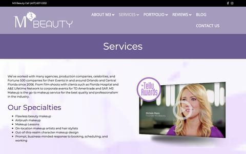 Screenshot of Services Page m3makeup.com - M3 Makeup Artist Services Orlando - Airbrush, Commercial MUA - captured Feb. 26, 2019