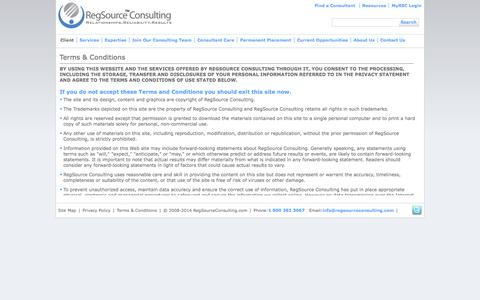 Screenshot of Terms Page regsourceconsulting.com - RegSourceConsulting.com - captured Oct. 26, 2014