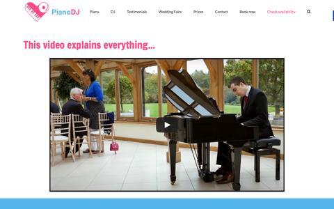 Screenshot of Home Page pianodj.co.uk - PianoDJ - Wedding pianists, Wedding DJs & Grand piano hire - captured April 18, 2016