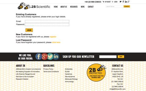 Screenshot of Login Page 2bscientific.com - 2B Scientific - login - captured Oct. 9, 2014