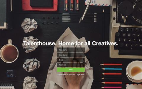 Screenshot of Signup Page talenthouse.com - Talenthouse - captured Jan. 22, 2016