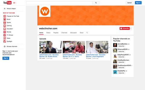 Screenshot of YouTube Page youtube.com - webclincher.com  - YouTube - captured Nov. 3, 2014