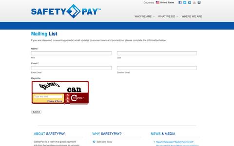 Screenshot of Signup Page safetypay.com - SafetyPay's Mailing List | Sign Up For News, Updates, And Local Offers - captured Sept. 17, 2014