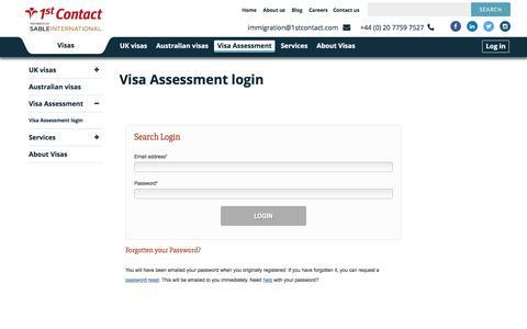 Screenshot of Login Page 1stcontact.com - Visa Assessment Login | 1st Contact Visas - captured Nov. 23, 2016