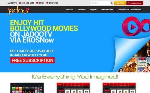 Screenshot of Home Page jadootv.com - JadooTV | Internet based Set Top Box | South Asian Channels - captured Oct. 2, 2015