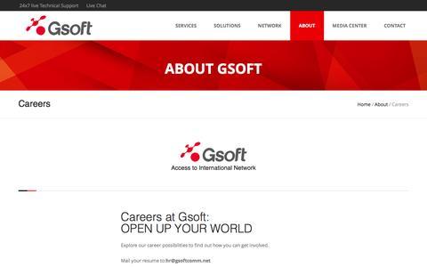 Screenshot of Jobs Page gsoftcomm.net - Gsoft | Careers - captured Nov. 16, 2016
