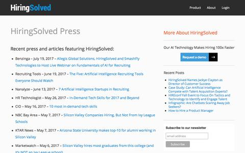 Screenshot of Press Page hiringsolved.com - HiringSolved Press - HiringSolved - captured March 6, 2018
