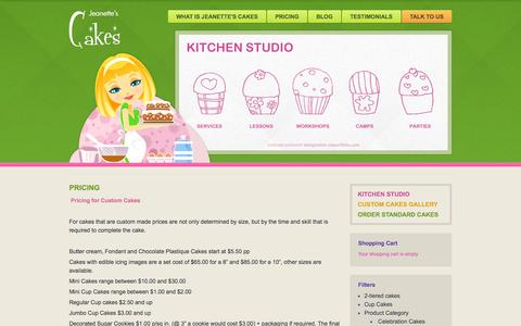 Screenshot of Pricing Page jeanettescakes.com - Pricing - Jeanettes Cakes - captured Sept. 30, 2014