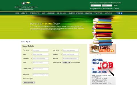 Screenshot of Signup Page educatejamaica.org - || Educate Jamaica || - Member Registration - captured Oct. 3, 2014
