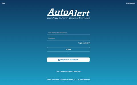 Screenshot of Login Page autoalert.com - AutoAlert | Login - captured April 8, 2019
