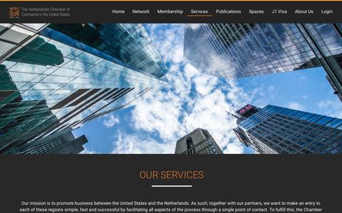 Screenshot of Services Page netherlands.org - Services – The Netherlands Chamber of Commerce in the United States - captured Oct. 18, 2018