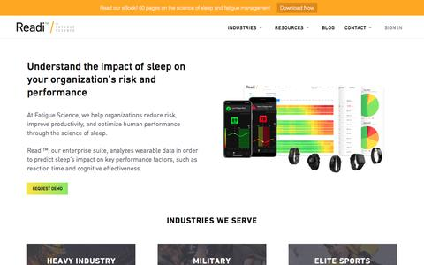 Screenshot of Home Page fatiguescience.com - Fatigue Science: Predictive fatigue management for industry and elite sport - captured Nov. 8, 2019