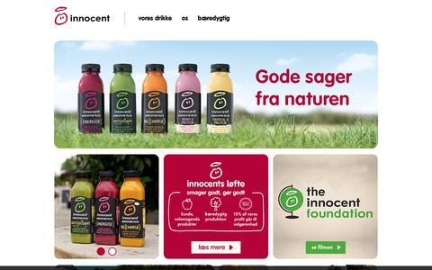 Screenshot of Home Page innocentdrinks.dk - Innocent drinks - velkommen til innocent smoothies - captured Jan. 14, 2018