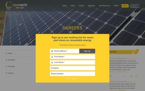 Screenshot of Jobs Page cleanearthenergy.com - Renewable Energy Careers with Cleanearth Energy - captured July 18, 2018