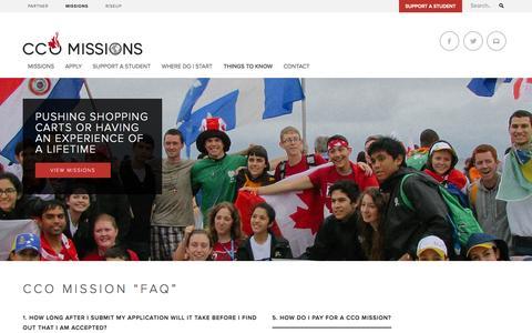 Screenshot of FAQ Page cco.ca - CCO Missions - captured Oct. 2, 2014