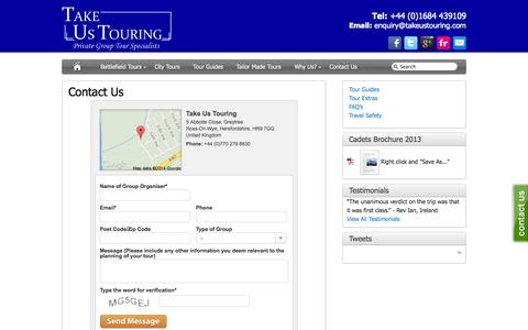 Screenshot of Contact Page takeustouring.com - Contact Us - Take Us Touring - captured Oct. 1, 2014