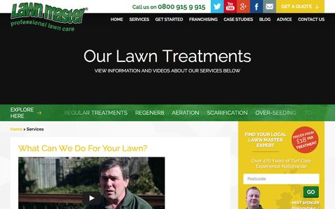 Screenshot of Services Page lawnmaster.co.uk - Lawn Treatment Services – Lawn Master - captured Dec. 8, 2015
