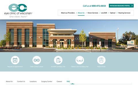 Screenshot of FAQ Page eyeclinicwi.com - FAQ - Eye Clinic of Wisconsin - captured Sept. 30, 2018