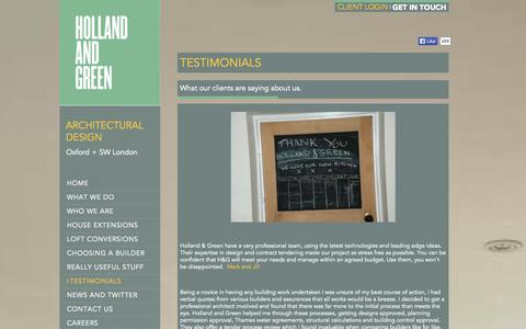 Screenshot of Testimonials Page hollandgreen.co.uk - Client Testimonials for Holland and Green Architectural Services - captured Oct. 3, 2014