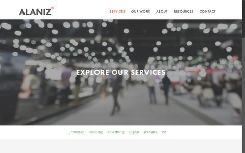 Screenshot of Services Page alanizmarketing.com - Services | - captured June 18, 2018