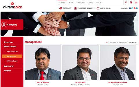 Screenshot of Team Page vikramsolar.com - Vikram Solar | Company | Team Vikram | Management - captured Jan. 24, 2016
