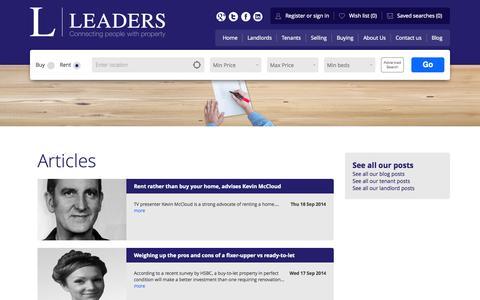 Screenshot of Press Page leaders.co.uk - Article list - Leaders Estate Agents - captured Sept. 19, 2014