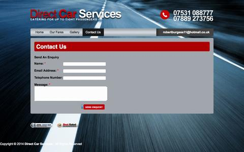 Screenshot of Contact Page directcarserviceshavering.co.uk - Contact Us | CHEAP AIRPORT TRANSFERS @ DIRECT CAR SERVICES - captured Oct. 5, 2014