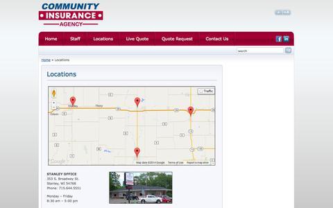 Screenshot of Locations Page ciwisconsin.com - Community Insurance Agency Locations | Community Insurance Agency - captured Oct. 2, 2014